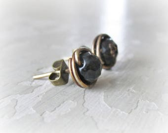 Brass Stud Earrings, Black Quartz Studs, Stone Stud Earrings, Raw Brass Studs, Oxidized Stud Earrings, Faceted Black Earrings, Black Brass