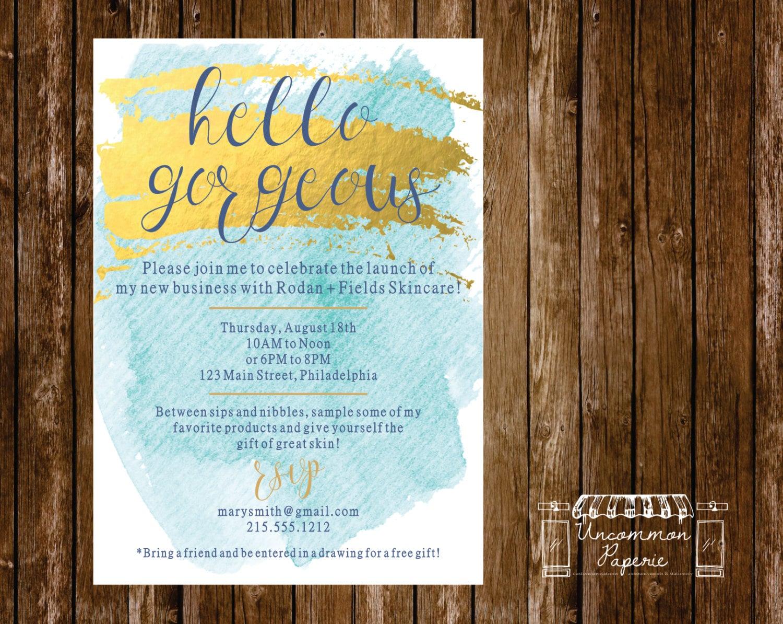Aqua Gold Foil Cocktail Party Launch Party Invitation