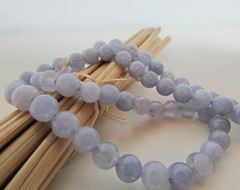 Angelite, blue gray angelite bead, Pearl 10 mm gem stone, 8 mm, 6 mm - 514