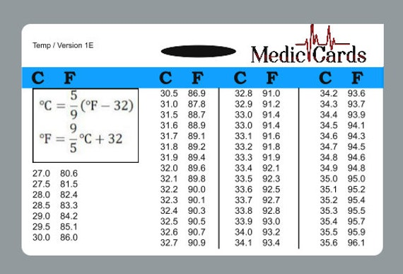 Items Similar To Temperature Conversion Chart Badge ID Card Pocket Guide  Nurse EMT   Hard Plastif On Etsy