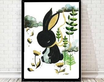 Black Rabbit - Print  Poster