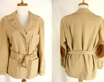 L.L. Bean Wool Jacket. Womens Tan Jacket. Houndstooth Coat. Camel Hair Jacket. Fall Hunting Jacket. Belt& Elbow Patches Pads. Womens size  M