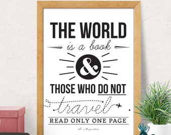 Travel Quote, Quote Prints, Inspirational Print, Motivational Poster, Minimal Print, Typography Print, Wall Art Prints, Quote Wall Art