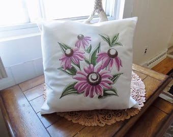 Purple Coneflower Sketch Toss Pillow