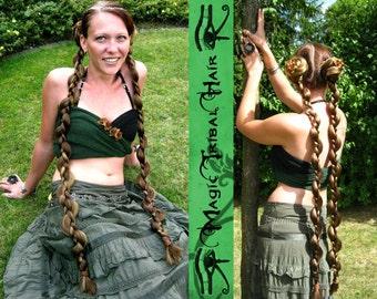 "BRAID HAIR PIECE 2 x Tribal Fusion Belly Dance hair extensions Y O U R   H A I R  C O L O R Fantasy Cosplay synthetic hair braids 90 cm/ 36"""
