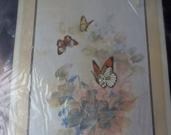 "Bucilla Stitchery Kit ""Garden of Butterflies"" 12 x 16 Embroidery Kit 1987 Unopened Vintage Craft Kit"