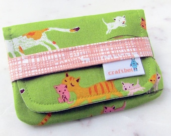 Sanitary Pad Holder, Cats and Kittens, Tampon Case, Sanitary Pad Case, Tampon Holder, Sanitary Napkins, Period Case, Heather Ross Print