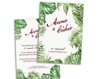 20 x Tropical wedding invitation