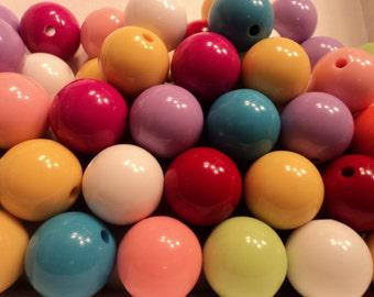 Gum Ball Bead III - Acrylic Bead Mix - - 24mm - Set of 6 - #RB158