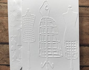 Dress Form Card Set,  White Embossed Note Cards, Greeting Cards, Stationery Sets, Blank Note Cards and Envelopes