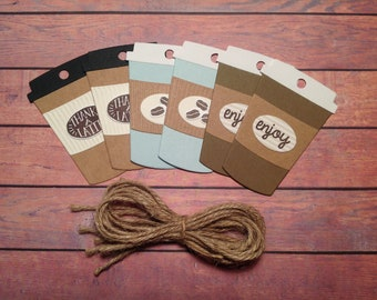 Coffee cup tags, 6 coffee cup tags, set of 6 gift tags, gift tags, thanks a latte, coffee ephemera