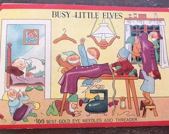 Rare Vintage Busy Little Elves Needle Book with Needles Ephemera