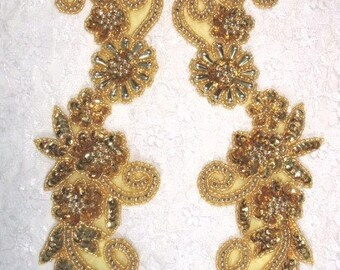 0183  Gold Mirror Pair Floral Sequin Beaded Appliques