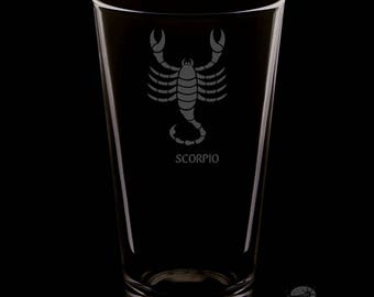 Scorpio 16 Ounce Personalized Rim Tempered Pint Glass