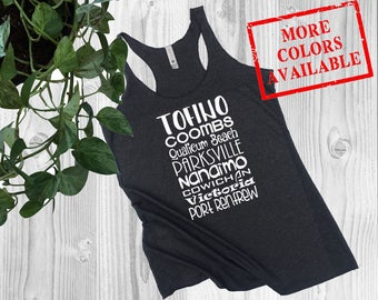 Vancouver Island Top - VANCOUVER ISLAND - Womens Tank Top, Ladies Tank Top, Van Isle Towns, Tofino Shirt, West Coast Tank, BC Tank for Her