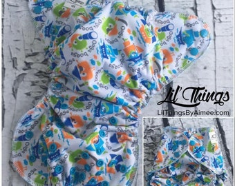 NEW Custom One Size Fits Most OS Swim Diaper Cover Boys Girls Ooga Booga