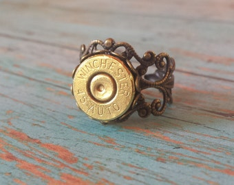 45 Auto Winchester Adjustable Filigree  Ring