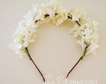 White headband, Party headband, White Lilac, Wedding headband, Bridesmaids headband, Flower girl headband, Alice band, Girls flower headband