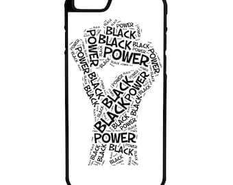 Black Power iPhone Galaxy Note LG HTC Protective Hybrid Rubber Hard Plastic Snap on Case white Black Lives Matter