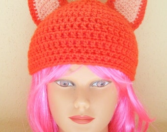 Cat Hat, ADULT SIZE, Orange With Peach Ears