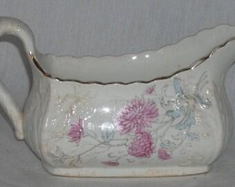 Antique English Bridgwood and Son Porcelain Gravy Boat Pink Flower