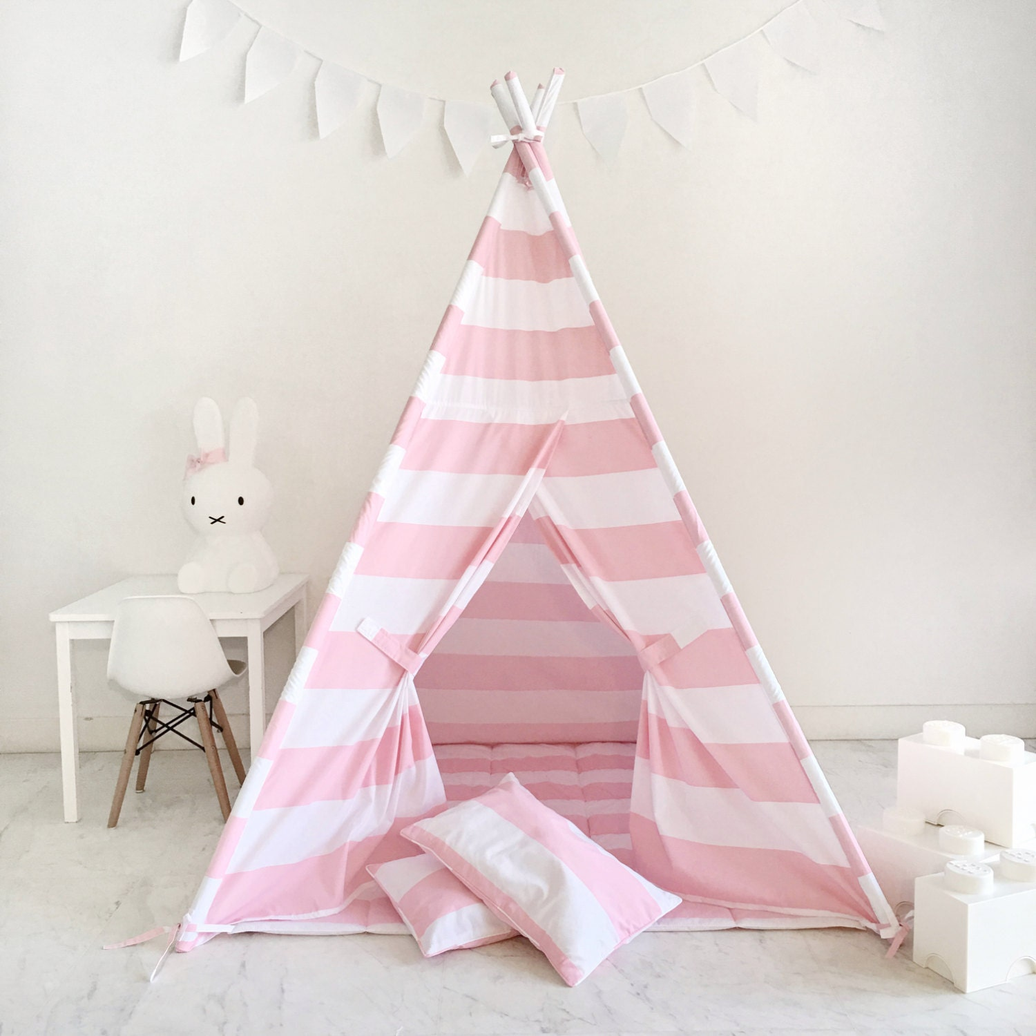 Kids Play Tent Teepee Handmade in Pink and White Stripe