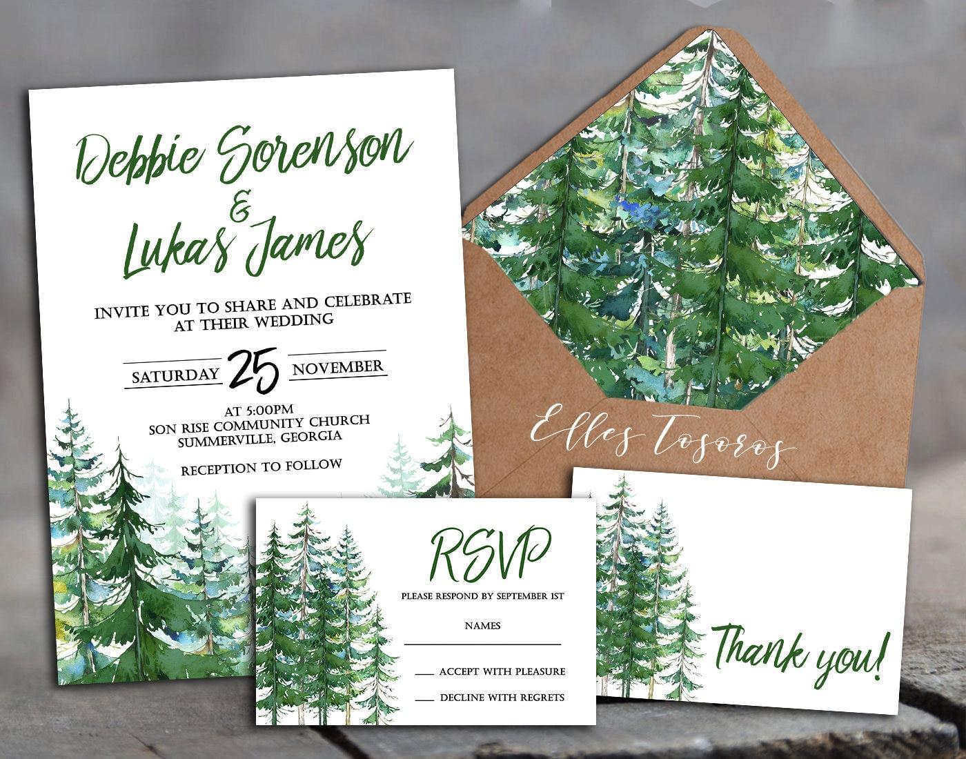 Wedding set forest trees wedding invitation rsvp card thank zoom m4hsunfo