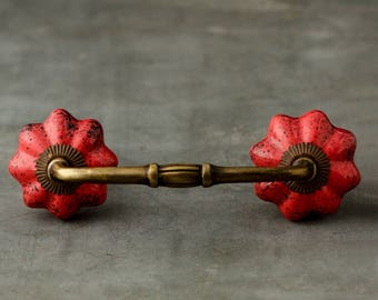 2 Red Colored Cupboard Cabinet or Drawer Pull