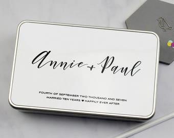 10th Anniversary Tin | Custom Anniversary Gift | Tenth Anniversary | 10th Wedding Anniversary | Couple Gift | Personalised | Custom Gift