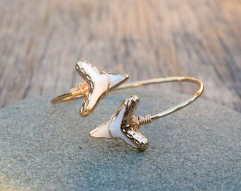 Shark Tooth Bracelet, Sharks Teeth Double Wrap Gold and White Sharks Tooth Bangle Cuff, White Boho Chic Arrow Bangle Bracelet, Spring Bangle