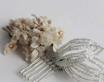 The Elizabeth Flora Hair Comb - 1920s & 1930s inspired bridal hair comb, vintage wedding, Art Deco, flower hair accessory