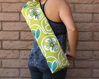 Handmade Yoga Mat Bag, Yoga Mat Tote, yellow Yoga Bag, Yoga Tote, Yoga mat sling, Yoga Mat Carrier, SPRING DAISIES, yoga bag, yoga sac