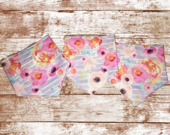 Watercolor Floral Bibs // Set of 3 Bandana Bibs// Baby Girl Bibs