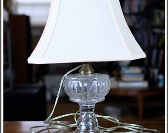 Vintage Clear Glass Pressed Base Table Lamp with Shade