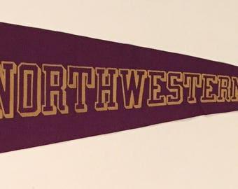 Circa 1930's Northwestern University Oversized Pennant by Chicago Pennant Company - Antique College Memorabilia