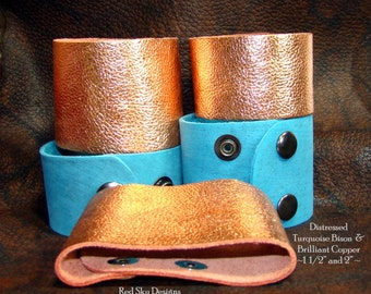 Leather Supply Cuffs PACK OF 4 Metallic Copper Bracelet Distressed Turquoise Bison Leather Cuff Leather Bracelets Leather Jewelry Designs