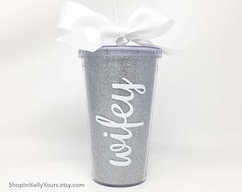 Wifey Tumbler, Wifey Glitter Cup, Bride to Be Tumbler, Soon to be Mrs, Gift for Bride, Gift for Wife, Wifey Gift, Wifey Mug, Wife Gift Idea