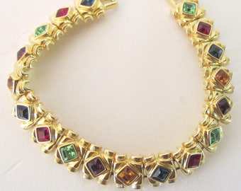 Goldtone multi-color faux stone bracelet