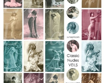 NUDES with VEILS, digital collage sheet, vintage images photos, rounds circles, French postcards risque women, DOWNLOAD ephemera altered art