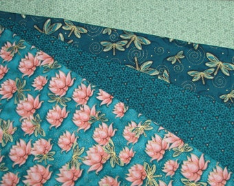 Yuna Fat Quarter Bundle - 4 FQ - waterlilies dragonflies geometric blenders in teal coral and sage - Quilting Treasures