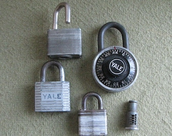 Antique and Vintage Padlocks Lot of Five (5) Industrial Salvage Locks and Hardware Fasteners