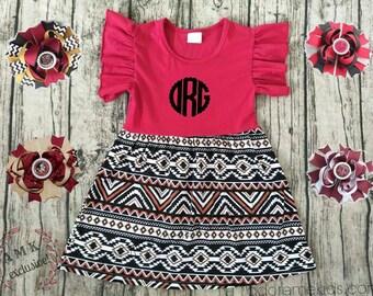 Boutique Girls  Ruffle Maroon Tribal Aztec Summer Dress Monogram