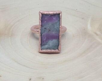 Ruby ring / ruby baguette copper electroformed ring / boho hippy ring