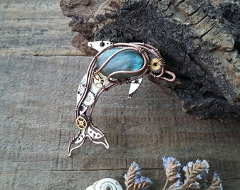 Dolphin pin, dolphin jewelry,blue dolphin, fish brooch, dolphin brooch