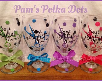 Personalized BEST STYLIST EVER Glass Wine Goblet Gift for Hair Stylist Artist with Scissors & Name on Back with Polka Dots