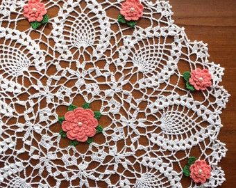 Crochet doily, floral, white, coral flowers, rose doily, 17""