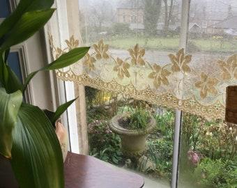 "Stunning vintage ART DECO Ecru cotton lace valance panel brise-bise cafe curtain new old stock 34""x 18"""