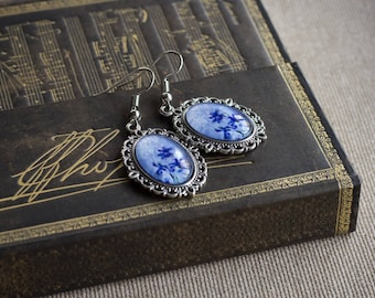 Blue glass earrings dangle, Victorian earrings silver, Blue sky jewelry, Blue sky earrings, Vintage earrings silver