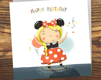 Mouse Happy Birthday Girl. Digital. Instant download.