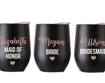 Bridesmaid Gift, Rose Gold Wine Glasses, Bridesmaid Gift, Bridesmaid Wine Glasses, Personalized Bridesmaid Gift, Maid of Honor Gift